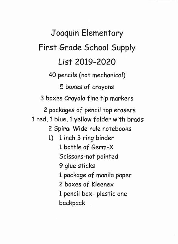 Top Lists 2020.Joaquin Isd School Supply Lists 2019 2020 Shelby County Today