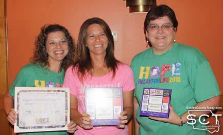 Strides of Hope team receives Top Fundraising Awards. From left: Kristen Whisenant, Stacey Scarborough, and Becky Parfait.