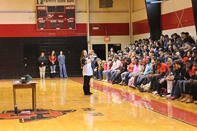Stephanie Crager speaks to the Shelbyville High School student body on the abuse of tobacco products.