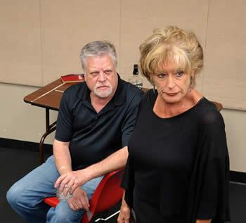 """Veteran stage actors Brad Maule and Rhonda Plymate Simmons rehearse a scene from """"August: Osage County"""" by Tracy Letts to be presented by the SFA School of Theatre April 28 through May 2"""