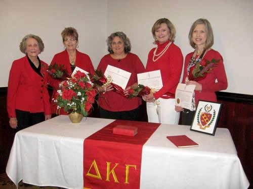 Photo (from left): Delta Gamma President Fannie Watson, Leisa Chadwick, Selisha Cockrell, Jeri Meredith, and Deonna Courtney.