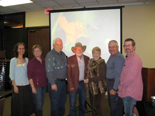 Pictured from left: Rachel Payne, The Bee Line Newsletter Editor and SFASU Liaison; Marie Kocyan, Program Coordinator; Terry McFall, Treasurer; Mike Bordelon, President; Linda Bordelon, Secretary; Don Lymbery, PBA Apiary Manager; and Keith Brashear, Vice President. (Not pictured, Immediate Past President, Scott Martin; and David Gallager, Assistant SAFASU Liaison)