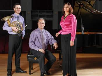 Trio Mélange features, from left, James Boldin, horn, Richard Seiler, piano, and Claire Vangelisti, soprano, all members of the University of Louisiana at Monroe music faculty.