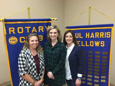Pictured from left are: Courtney Greer, Anna Lee (Rotary President), and Kelly Lucas.