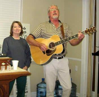 Dr. Danny Paul and Sally Windham provided the musical entertainment for the March meeting of the Golden Harvest Ministries Club.  Members and guests enjoyed local favorites and original songs composed by Danny Paul.