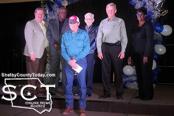 Johnny Cockrell (front middle) was the recipient of a 25-year recognition during the City of Center Employee Appreciation Banquet on April 1, 2016. Also receiving a 25-year recognition; however not present, was Allen Penick. Pictured with Cockrell are members of the Center City council and they are (from left) Mayor David Chadwick, Jerry Lathan, Jim Forbes, Charles Rushing and Joyce Johnson.