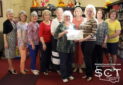 Donna Holt, Martha Rushing, Billie Sue Payne (City Council), Barbara Prince, Kathy Sawyer (Library Grant and Program Director), Sandra Davis (Library Director), Laura Rowe (Ways and Means, Correspondence Secretary), Andi Foster (Ways and Means Chair), Pam Phelps, and Linda Miller (Treasurer)