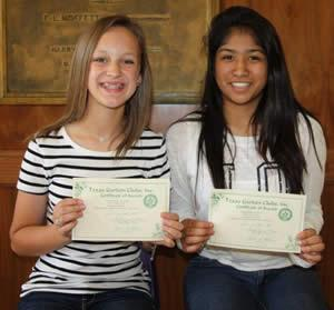 These students participated in the National Garden Club poetry contest, earning an Honorable Mention certificate. Caroline Scull and Ingrid Arias, both 8th grade students at Center Middle School.