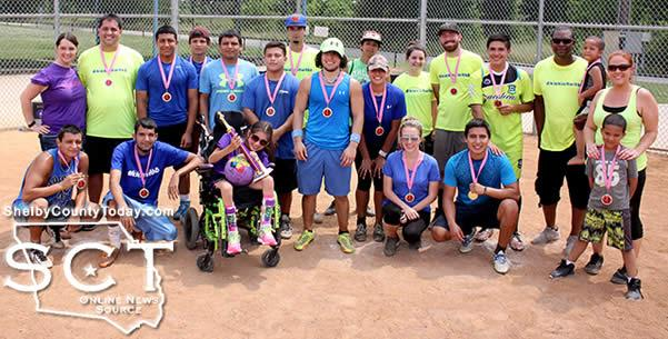 The Inkspots and Smashers are seen together with Brooklyn Oliver at the finale of the kickball tournament held on Saturday, May 14, 2016.