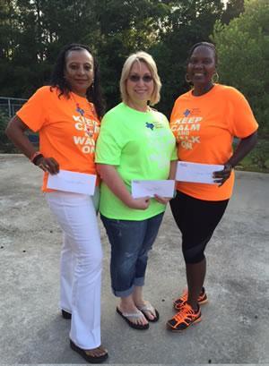 Shelby County Steppers Walk Across Texas Team Debbra Johnson, Sherri Felder, and Cynthia Howard.  Not pictured:  Ann Grant, Tara Baylor, DeShun Greggory, Jennifer Gillaspie, and Shelia Reeves