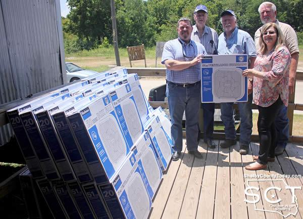 Members of Sam Samford Lodge #149 presented fans to Shelby County Outreach Ministries for distribution. Pictured are (from left) Lodge members Roger Doyle, Sammy Arnold, Paul Ragan, Alan Ricketson and Shelby County Outreach Ministries Executive Director Sherry Harding.