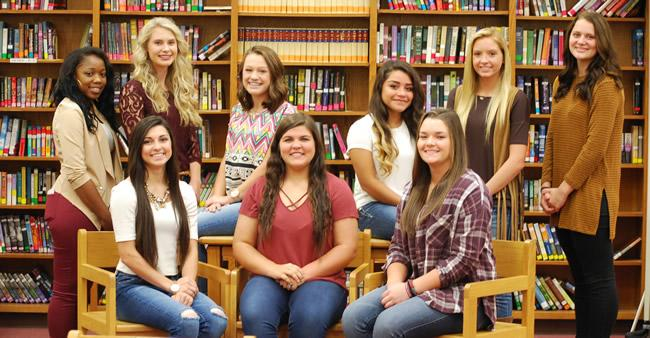 Duchesses and Queen Candidates are left to right: Tiara Sampson(11th) , Loren Vandrovec(10th), Mickenzie Murry(9th), Amayrany Gonzalez(9th), Harley Hinton(10th), Skylar Sigler (11th) Front Left to right: Hannah Hall (12th), Kennedey Parker (12th), Bailey Rabalais(12th)