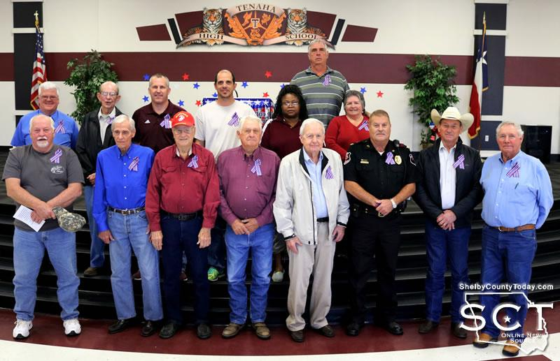 Local Veterans honored at BETA club Veterans Day presentation. (Bottom row, from left) James Grimsley, Bob Davis, Dale Stepp, Charles Hooker, George Bowers, David Jeter, Willis Blackwell and Roland Cross. (Top row, from left) Steven Farmer, Eddie Bailey, Brandon Walters, Brian Straw, Letitia Page, Victor Crawford and Marie Crawford.