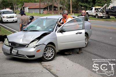 The vehicle was pushed from the roadway to prevent another collision from occurring before it was towed from the scene.