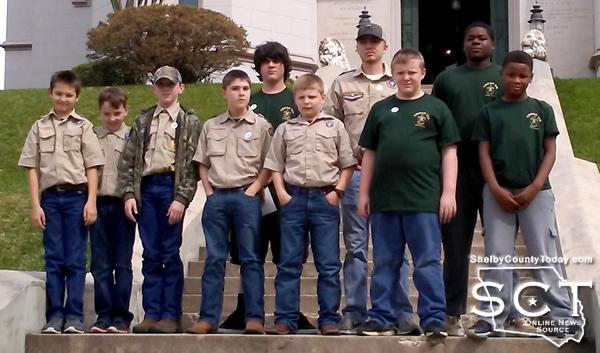 Boy Scouts on the step of Louisiana's Old State Capital
