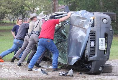 Constable Jamie Hagler and DPS Troopers assisted Vail and Son Wrecker in righting the vehicle to help clear the scene more quickly.
