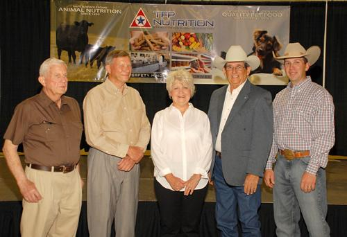 Nacogdoches County agricultue award recipients are pictured from left are Fred Borders, Melvin Adams, Stephani Curbow and Hyman and Benjamin Boozer.