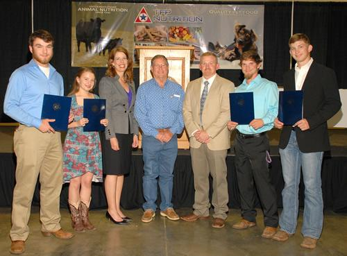 The Gary and Sue Atkins Agricultural Scholarship award recipients are Matthew Matlock, Brooke Petty, Clayton Sestak and Jonathan Lowery. Pictured from left are Matlock, Petty, event Chair Angela Shannon, Gary Atkins, Dr. Joey Bray, Chairman of SFA Department of Agriculture, Sestak and Lowery. (Photos by Trecia Johnson)