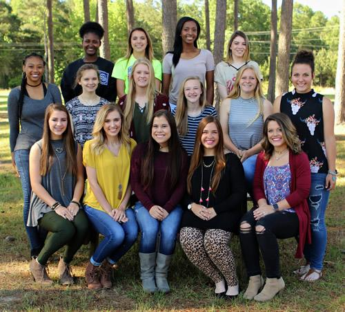 From left: (front row) seniors Madison Kirby, Hailey Haddox, Captain Alysen Jefferson, Emma Locke, Lexi Moody, (middle row) junior Esther Mergerson, senior Skyler Ferguson, sophomores Kalei LaRock and Kelsey Adair, and juniors Cheyenne Byrnes and Maddie Russell, (back row) senior Magical Johnson, sophomores Mallory Fausett and Jasmine Cooks, and senior Jacee Hooks.