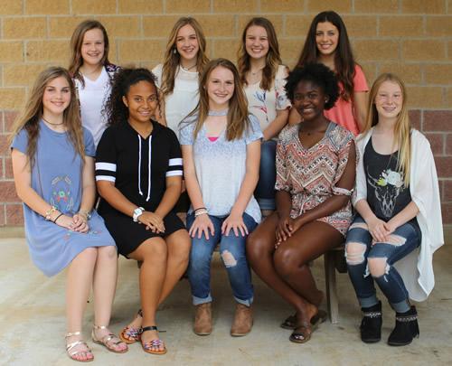 (Front row, from left) Kaitlin Williams, Jayla Caraway, Katelyn Duvon, Jayla Moore, Lanie Hooks, (Back Row) Camryn Crouch, Tatum Mattauer, Taylor Horton, and Kennedy Bush.
