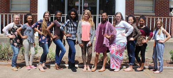 7th Grade Cheer - (From left to right) Autum Andrusick, Kaitlyn Davis, Carly Gray, Kadence Polley, Alaisia Garrett, Breanna Windham, Ambria Randle, Ashlee Sowell, Jadan Samford, Tyziana Bennett, and Brooke Gaddy.
