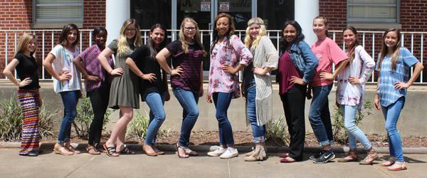 8th Grade Cheer - (From left to right) Gracie Whisenant, Skylar Causey, Calizjah Johnson, Avery Snell, Brianna Jones, Baili Proffitt, Makaiya Hubbard, Ashlyn Creech, Makenna Gipson, Allison Stuever, Taylor Myers, and Laney Parker.