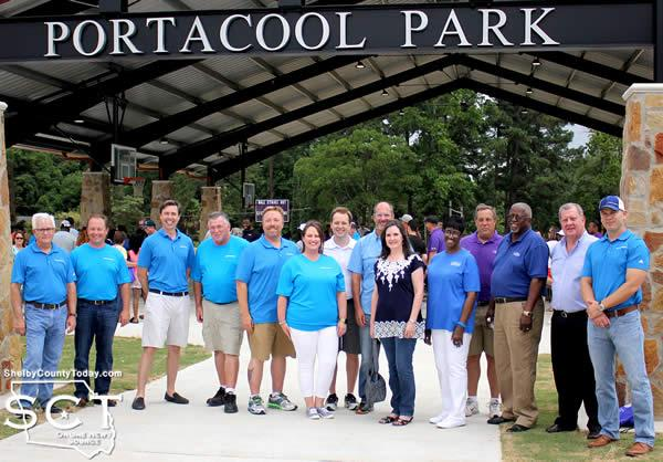 Portacool and City of Center representatives gathered before the Portacool Park entrance.