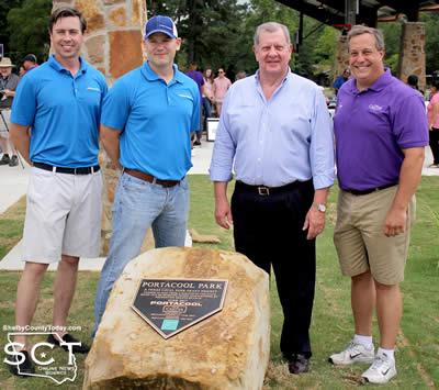 Pictured are (from left): Thomas Morrison, Sales/Marketing Operations Manager at Port-A-Cool LLC; Ben Wulf, President/CEO Portacool LLC; David Chadwick, Center Mayor; and Chad Nehring, Center City Manager.