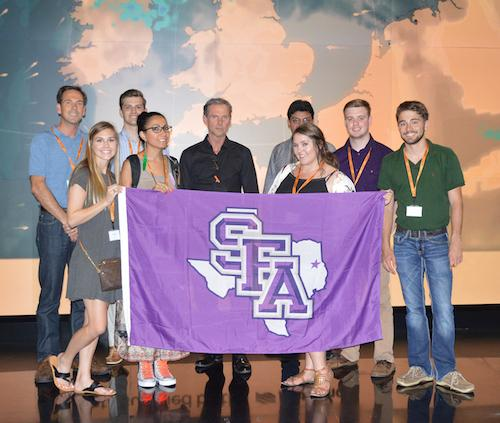 Stephen F. Austin State University students traveled to England, Belgium, Germany and the Netherlands for a behind-the-scenes look at international media. Sky News, a 24-hour international multimedia news company, was a favorite stop for the group.