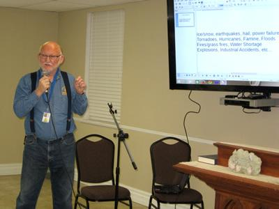 Ron Barbee speaks about Texas Baptist Men at Golden Harvest Ministries Club Meeting