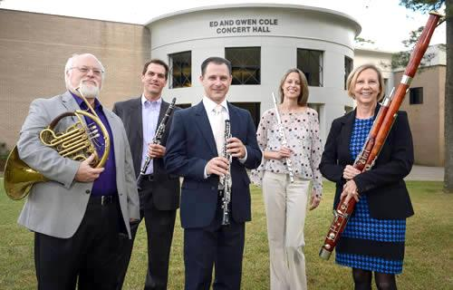 The Stone Fort Wind Quintet at Stephen F. Austin State University features faculty members, from left, Charles Gavin, horn; Christopher Ayer, clarinet; Kerry Hughes, oboe; Christina Guenther, flute; and Lee Goodhew, bassoon.