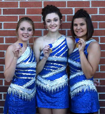 Pictured are (from left): Sarah Ewing, Freshman, Michalla Byrd, Junior, Head Majorette, Arianna Rogers, Junior.
