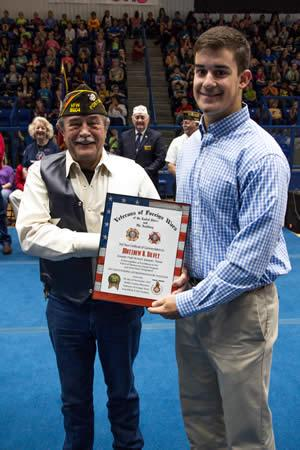 Matthew Silvey (right) was presented his certificate by Newton Johnson (left), VFW Post 8904 member.