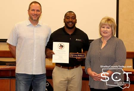 Newly elected Center ISD School Board member Greg Hubbard (middle) was sworn in Wednesday, November 15. He is pictured with fellow board members Matthew Mattauer (left) and Allison Johnson (right).