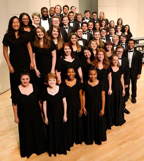 """SFA's A Cappella Choir (pictured) and Festival Orchestra, Women's Choir and Choral Union will present """"Christmas Celebration"""" at 7:30 p.m. Friday, Dec. 8, in W.M. Turner Auditorium on the university campus."""