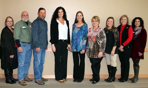 Ten year service awards went to, from left, Kelli Vicars, Joe Thomas, Todd Shelton, Whitney McBee, Julie Bertrand, Pam Pike, Leslie Glaze, Mickie Cash and Amy Calhoun.