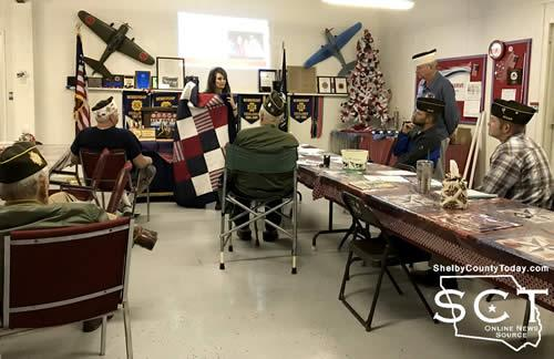 McSwain is seen on November 20, 2017 presenting the VFW Post 8904 members with the idea of partnering with the post in the production of quilts.