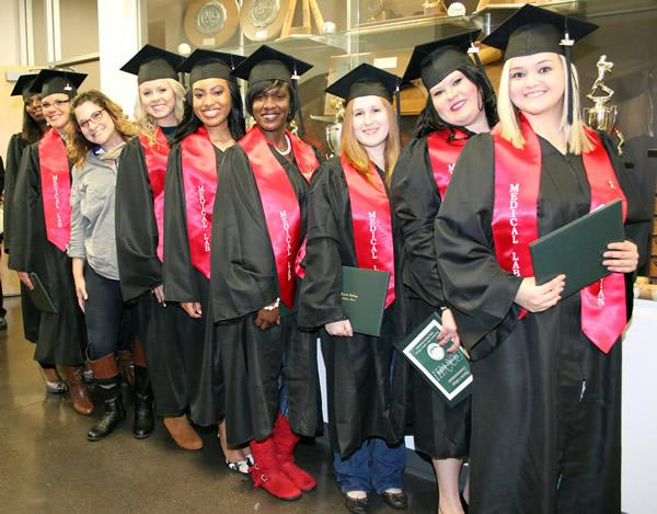 Jo Ellen Russell congratulates the Medical Lab Technician graduates in fall 2016 commencement. Panola College will host two commencement ceremonies on Thursday, Dec. 14, 2017.