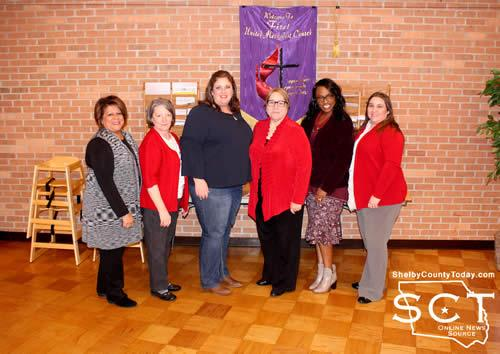Pictured are (from left) Anne Hale - CPS; Nancy Dickerson - FUMC; Kristen Berry - CPS; Karen Jones - FUMC Pastor; Sonya Holman - CPS Supervisor; and Kelly Snider - FUMC.