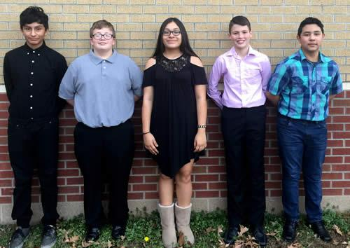 Pictured from left to right - Manuel Loredo (8th Grade) - 10th Chair Trumpet; Michael Kellar (8th Grade) - 3rd Chair Percussion; Sarahi Flores (8th Grade) - 2nd Chair Saxophone; Alex Tyner (7th Grade) - 4th Chair Percussion; Jesus Castillero (7th Grade) - 4th Chair Tuba