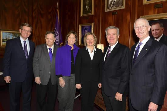 Tom Mason of Dallas and Karen Gantt of McKinney were appointed to six-year terms on the Stephen F. Austin State University Board of Regents by Gov. Greg Abbott. Regents Brigettee Henderson of Lufkin and Ken Schaefer of Brownsville were reappointed to SFA's board. Pictured, from left, are David Alders, chair of the SFA Board of Regents; Dr. Baker Pattillo, university president; and regents Brigettee Henderson, Karen Gantt, Ken Schaefer and Tom Mason.