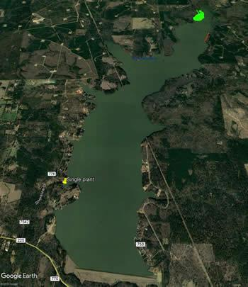 Lake Nacogdoches recently joined a sizable list of East Texas reservoirs that are battling Giant salvinia, an invasive fern native to South America. This Google Earth image indicates the location of the heaviest infestation (in the upper right corner) on the 2,200-acre lake.