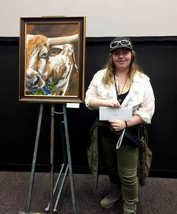 Morgan Ray won a scholarship for her acrylic painting of a longhorn.