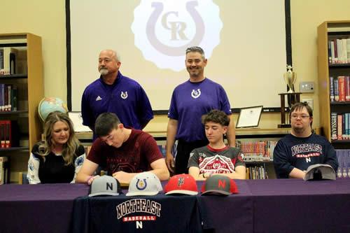 Jaxon Covington signs letter of intent to Northeast Texas Community College. (Standing from left): Athletic Director, Barry Bowman, and Head Baseball Coach, Kelly Spann.  Photo: Cheyenne Byrnes.