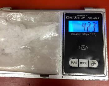Methamphetamine recovered by Shelby County Sheriff's Investigator Mandy Fears.