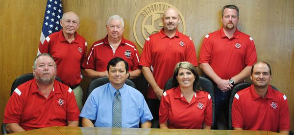 SISD School Board Members pictured are: (front row, L to R) Tim Bradshaw, 4 years; Dr. Ray West, Superintendent; Etola Jones, President, 9 years; Mark Bohannon, Vice-President, 4 years; (back row, L to R); Duane Lout, 6 years; Joe Tom Schillings, 9 years; Joey Lawson, Secretary, 5 years; and Chris Koltonski, 2 years.
