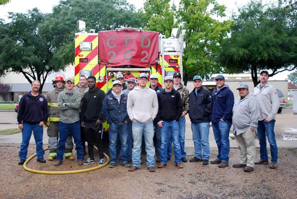 Students participate in fire safety training, under the supervision of the Carthage Fire Department and Fire and Safety Equipment personnel. Fire Marshall Randy Liedtke and Fire Fighter Workman were on hand to assist the students.