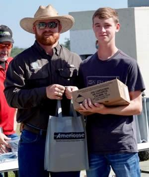 (Pictured from left:  Morgan Harbison-Coordinator of TX Parks and Wildlife mobile shooting range and whiz bang events, Lance Holloway)