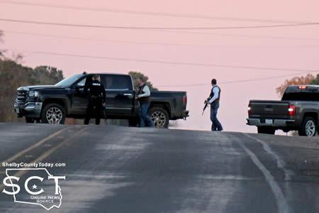 Tenaha PD Officers joined Center PD on top of the hill at FM 2788 on SH 7.