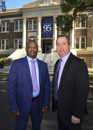 John Fields, left, is the new chief of police and Craig Goodman is assistant chief of police for Stephen F. Austin State University. Their appointments were approved by SFA's Board of Regents during a meeting Tuesday.
